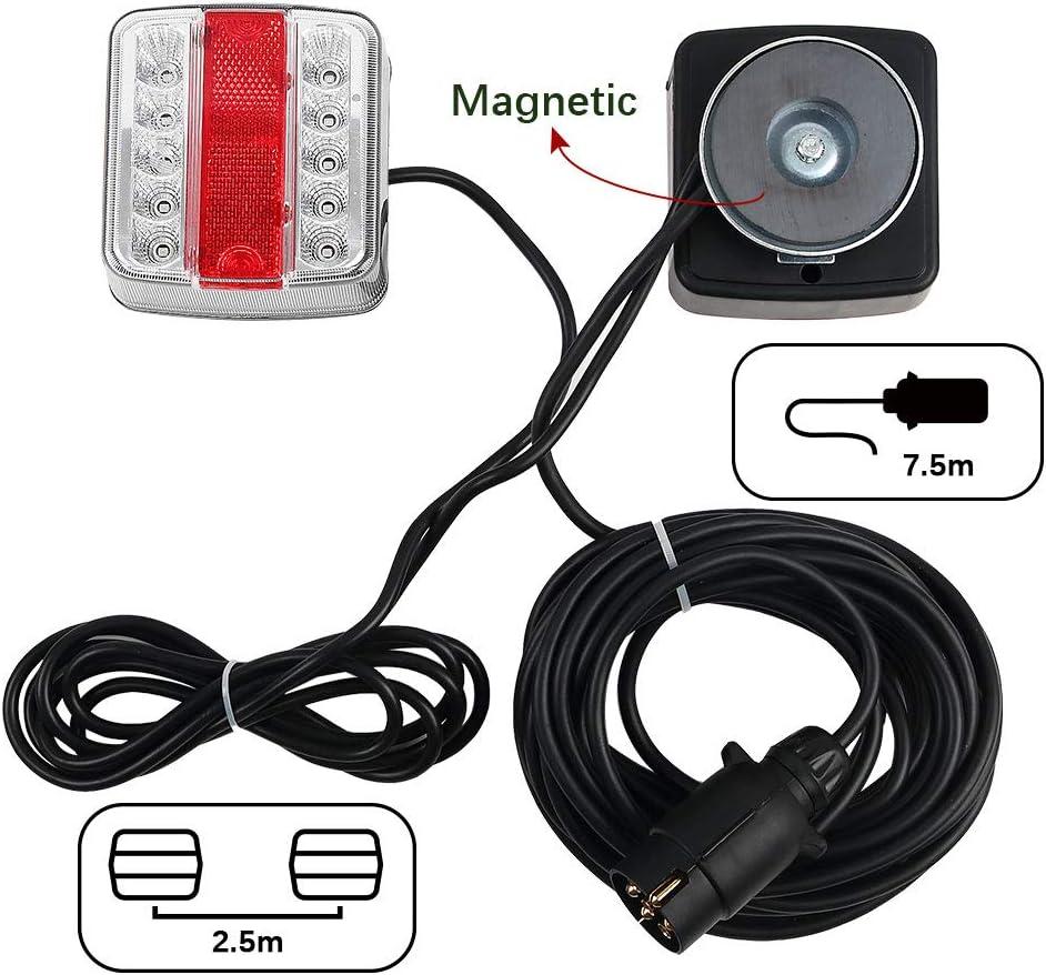 Bernstein /& rot- LED, Karton Hawkeye LED 12//24V Magneten Anh/änger Beleuchtung R/ücklicht R/ückleuchten Kit mit 7,5m Kabel 7-poligem Stecker