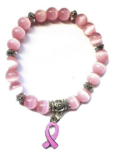 STRASS \u0026 PAILLETTES Bracelet Octobre Rose Lutte Contre Le Cancer du Sein  avec Perle Opale Rose et Ruban Rose