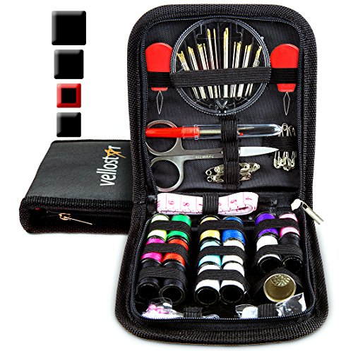Easy Stocking - Sewing KIT - Tackle Any Emergency Clothing Repairs w/This High Rated Basic Mini Mending Sew Pack for Kids & Adults, Small Beginner Sowing Travel Kits w/Supplies, Easy to Use Thread & Needle, Black