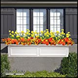 54 Inch XL Paloma Premier No Rot PVC Composite Flower Window Box w/ 2 Decorative Brackets