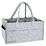 Kyson Diaper Caddy Nursery Storage Bin Felt Basket Diapers Organizer Baby Wipes Bag , Changeable Compartments, Grey