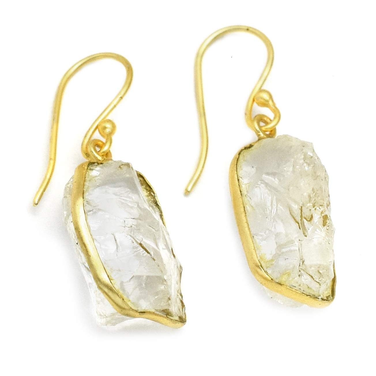 The V Collection earrings uneven shape yellow gold plated crystal handmade dangling earrings gifts for her