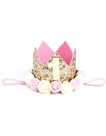 Cappellino compleanno 1 anno YeahiBaby Fascia Tiara neonata con fiori per  decorazione della festa compleanno 16cd2505a440
