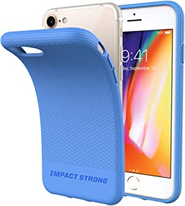 ImpactStrong iPhone SE 2020 Case, iPhone 7/8 Case, Liquid Shield Silicone Rubber Shock-Absorbing Scratch-Resistant Cover for iPhone 7/8 and iPhone SE (2nd Generation) - Sky Blue
