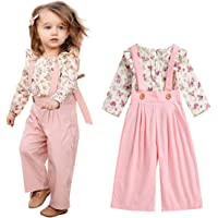 Unistylo 2PCS Girl Toddler Clothes Floral Suspenders Pant Set,Baby Girls Clothes Long Sleeve Shirt+Sleeve Overalls