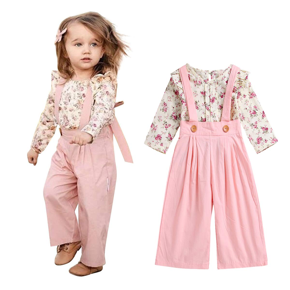 Unistylo 2PCS Girl Toddler Clothes Floral Suspenders Pant Set, Baby Girls Clothes Long Sleeve Shirt+Sleeve Overalls
