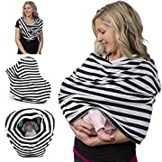 Breastfeeding Cover & Nursing Scarf - Covers Baby Carrier Car Seat, Stroller, Canopy Shopping Cart - Stylish Stretchy Multi-Use Infinity Shawl - With Gift Pouch for Boys and Girls (Black)