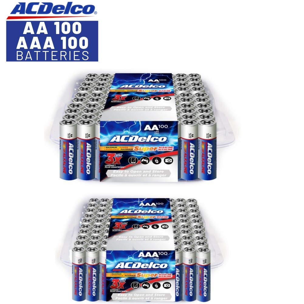 ACDelco AA and AAA Batteries, Alkaline Battery, 100 Count Each Pack by ACDelco