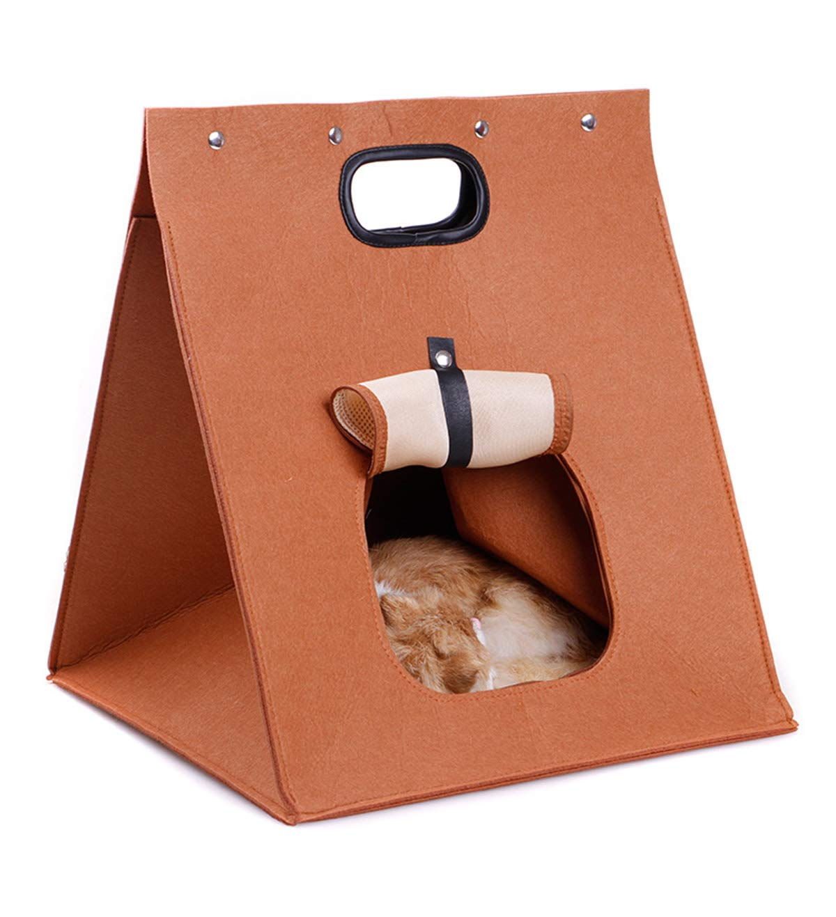 Creative Pet Carrier Cat Felt Bag Portable Kitten Living Handbag Foldable House for Teddy, 15.75  15.75  18.9Inch