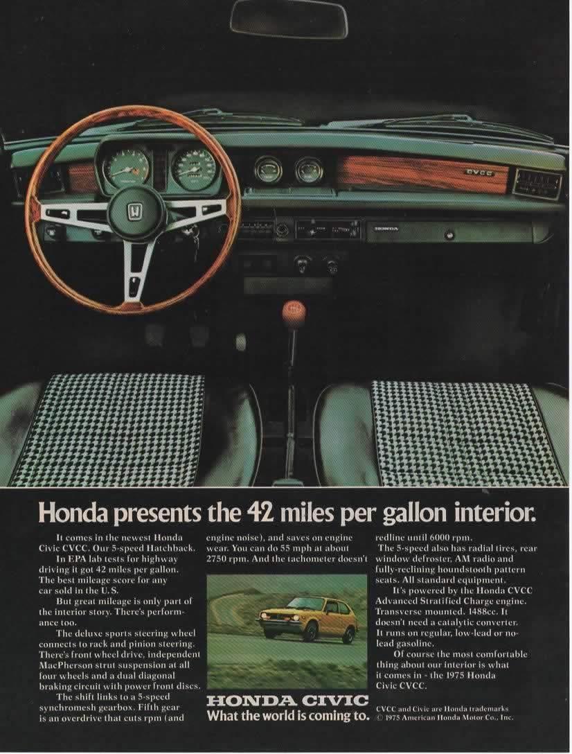 Honda Civic Miles Per Gallon >> Amazon Com Magazine Print Ad 1975 Honda Civic Cvcc Honda