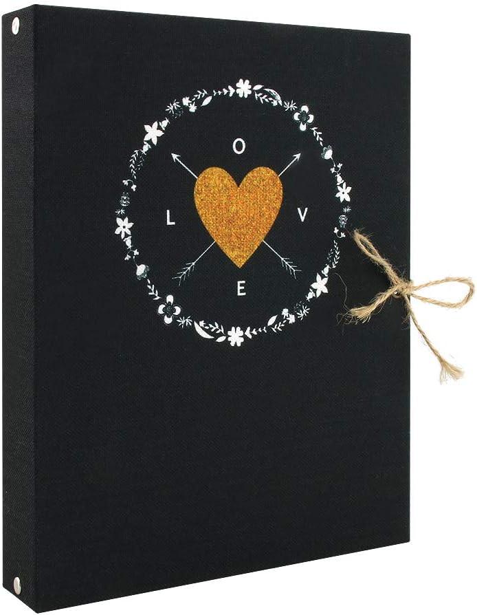 VEESUN Lino Album Fotografico Scrapbook Love Fai da Te Foto Album Scrapbooking Nero Pagine Nere San Valentino Regali di Compleanno Regali per Anniversario di Matrimonio per Uomo Donna
