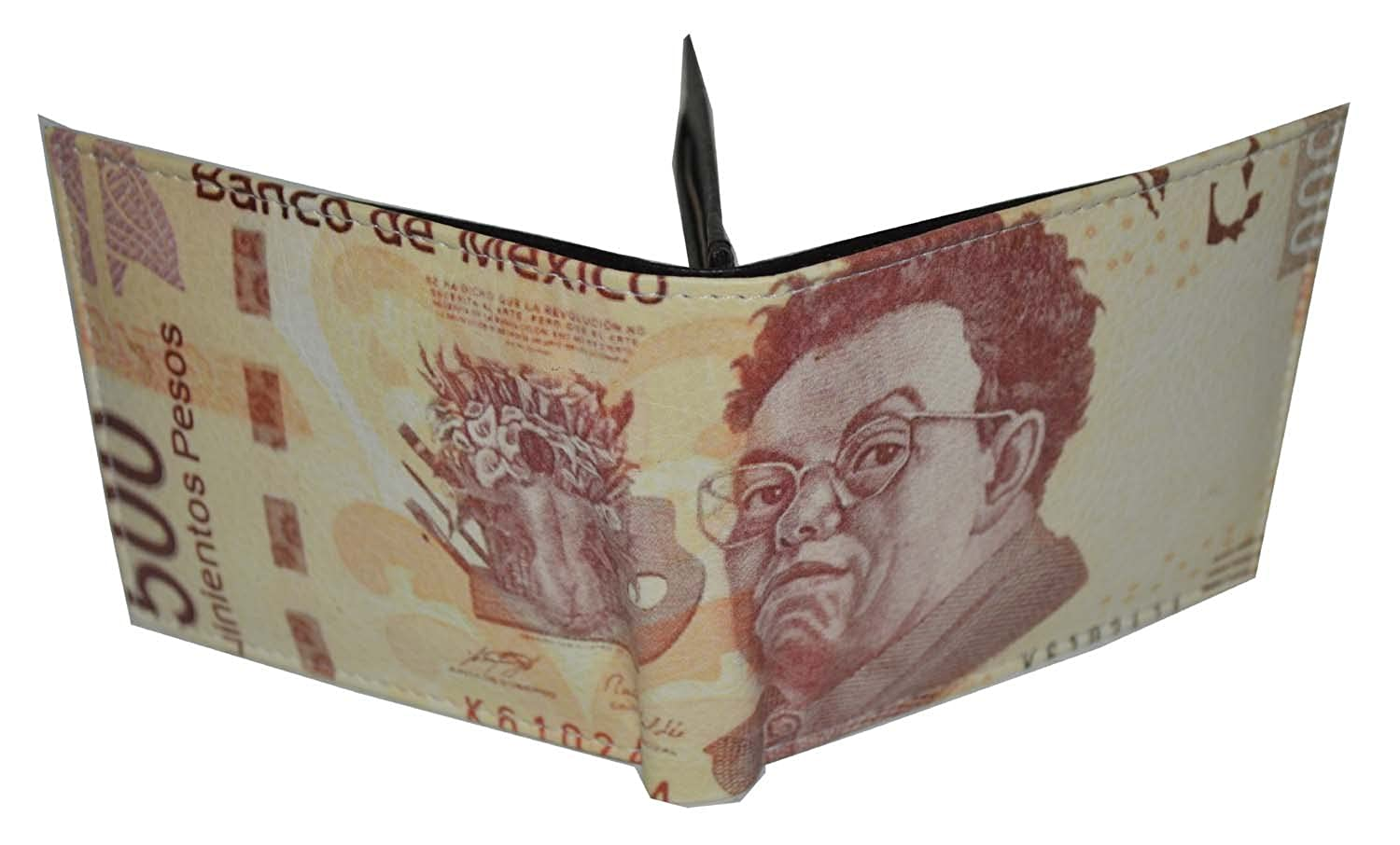 Mens Bifold Exotic Wallet Picture Mexican Pesos with printed gift box