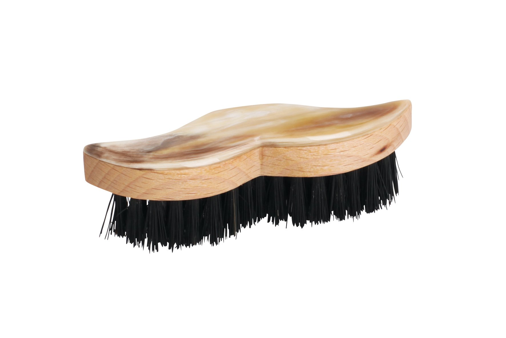 Bürstenhaus Redecker Wild Boar Bristle Moustache and Beard Brush with Oiled Beechwood and Decorative Horn Handle, 3-1/4-Inches