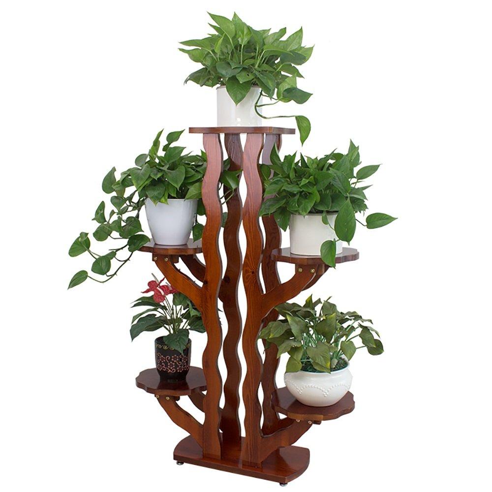 木製フラワースタンドバルコニー屋内リビングルーム室内植物フラワーディスプレイスタンド木製ポットシェルフ収納棚5ポットホルダー48×24×116cm B07D5CFQ79