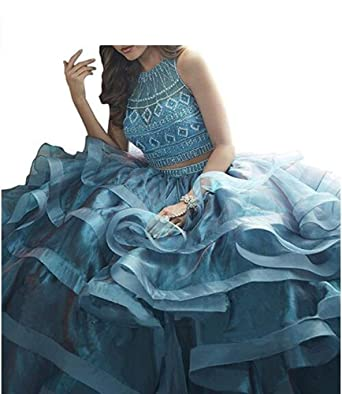 d29c94708113d6 ANGELA Girl s Beaded Ruffles Two Piece Quinceanera Dresses Long Prom Gowns  Blue 2
