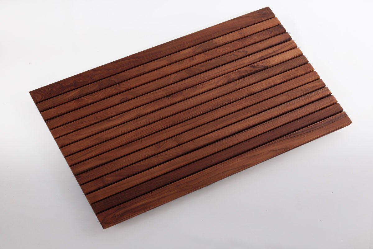 Teak Shower Mat 31.4″ x 19.6″ in - wide end slat