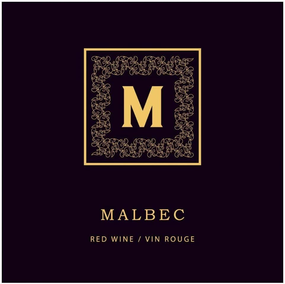 ABC Crafted Series | Malbec Golden Monogram Labels (PK50)