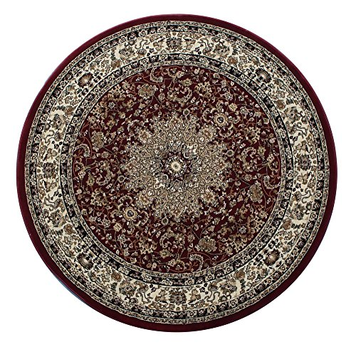 Burgundy Oriental Hearth Rugs - Elegance Traditional Round Area Rug Persian Style Design 205 Burgundy (7 Feet 3 Inch X 7 Feet 3 Inch)