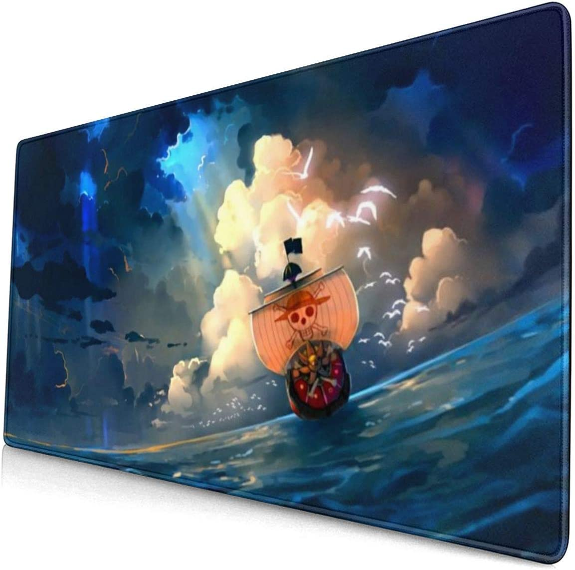 Anime One Piece Luffy Roronoa Zoro Nami Mouse Pad Laptop Computer Pc Non-Slip Rubber Base Stitched Edges Extended Gaming Large Mousepad Precision Hemming Office Home Gamer 15.8X29.5in