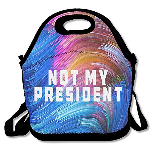 Oswald Carnegie Not My President Neoprene Lunch Bag Tote Reusable Insulated Waterproof School Picnic Carrying Gourmet Lunchbox Container Organizer For by Oswald Carnegie