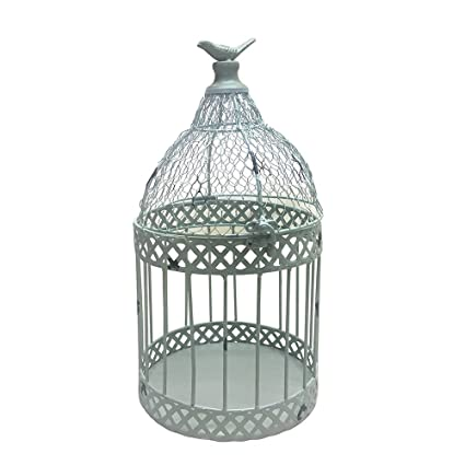 Set Of Two White Bird Cage Set, Rustic Themed Home Decor, Metallic Modern  Charming