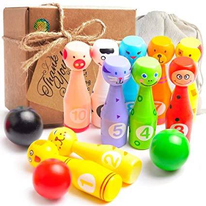 Agreatlife Mini Bowling Game Set For Kids 10 Wooden Pins  3 Inches