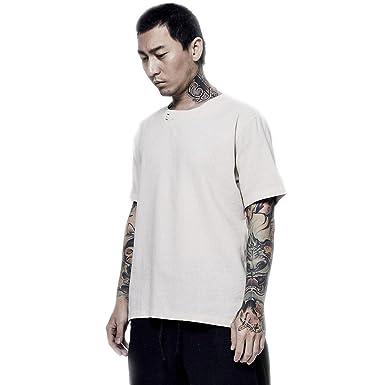 02b17318f8fd4 BaronHong Hombre de 2 Botones Chino Mandarin Cuello de Manga Corta Camiseta  de Lino Tops  Amazon.es  Ropa y accesorios