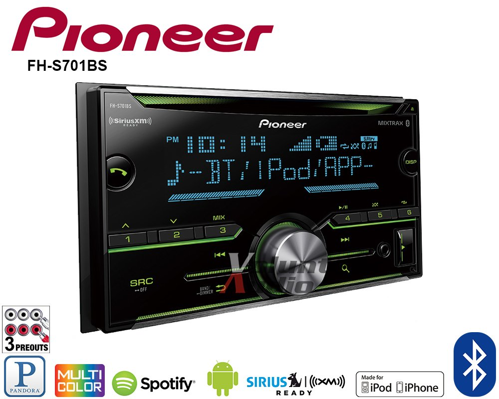 Pioneer Fh S701bs 2 Din Cd Receiver With Arc App Wiring Harness Compatibility Mixtrax Bluetooth And Siriusxm Ready Cell Phones Accessories