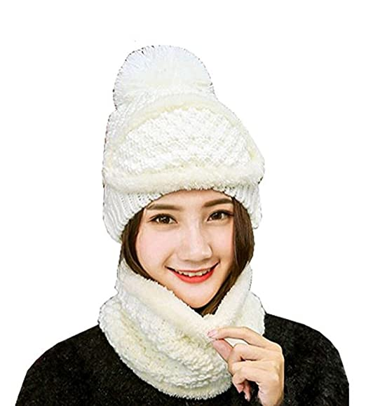 3 Pieces Winter Hat Scarf Mask Sets Warm Knit Beanie Hat And Scarf