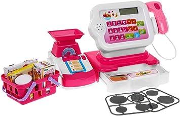 BSD Juego de Imitación - Caja Registradora para Niñoa, Caja Registradora Electrónica de Juguete, Caja de Supermercado con Accesorios - Blanco/Rosa: Amazon.es: Juguetes y juegos