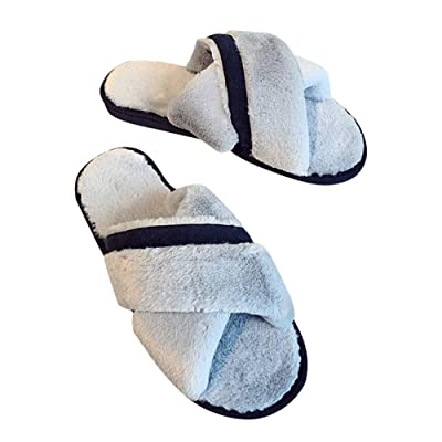 House Slippers for Women Memory Foam,Furry Fur Flip Flop Open Toe Cozy House Sandals Cross Anti-Slip Indoor Outdoor: Clothing
