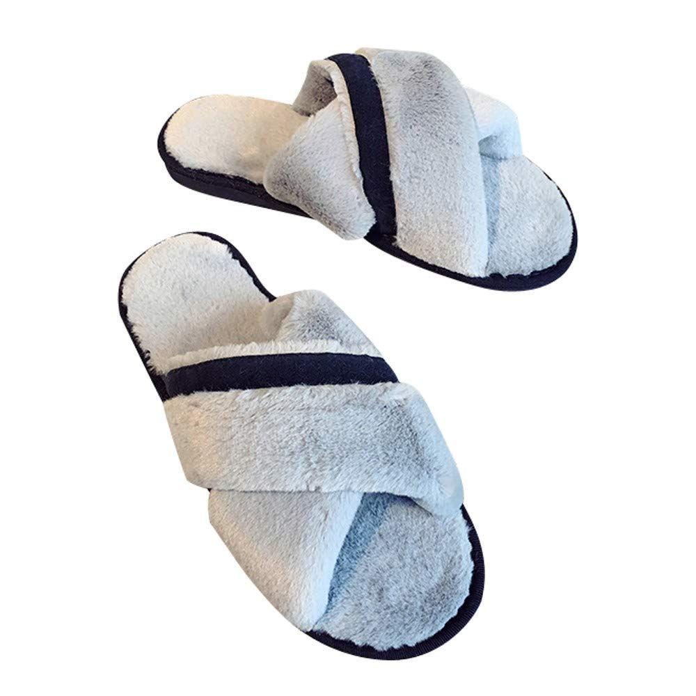 Slippers For Women, Clearance Sale !! Farjing Fashion Shoes Comfortable Warm Flat Bottom Home Open Toe Cross Fur Slippers (US:7-7.5,Gray )