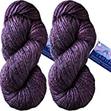 Living Dreams TAHOMA Luxuriously Soft Merino Silk Yarn. Cruelty Free & Responsibly Sourced. Hand Dyed in USA. Aran Weight, Twin Pack, Aubergine