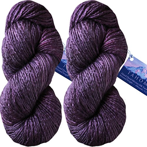 Living Dreams TAHOMA Luxuriously Soft Merino Silk Yarn. Cruelty Free & Responsibly Sourced. Hand Dyed in USA. Aran Weight, Twin Pack, Aubergine by Living Dreams Yarn