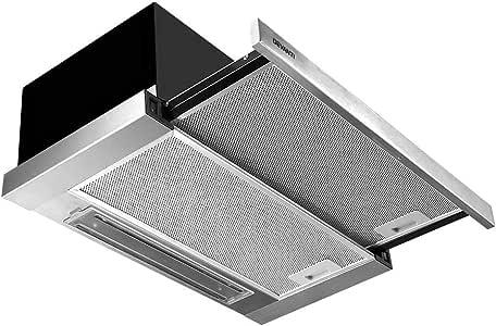 DEVANTI Rangehood Range Hood Stainless Steel Kitchen Wall Mount Canopy 60cm 600mm Black
