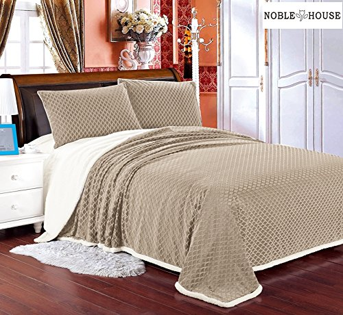Luxurious Home Ultra Soft Reversible Queen Blanket with Sher