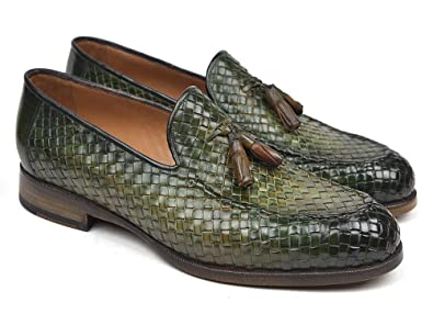 Woven Leather Tassel Loafers Green Shoes (ID#WVN44-GRN)