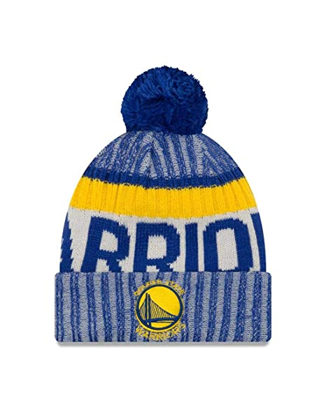 new styles af672 bcb39 New Era Golden State Warriors On-Field Sport Pom Knit Hat Cap