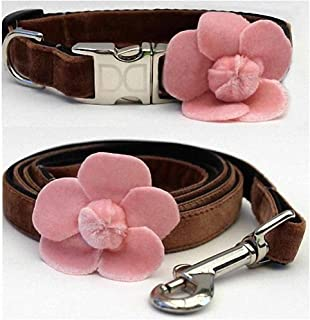 "product image for Diva-Dog 'Camellia Velvet Pink' Custom Small Dog 5/8"" Wide Dog Collar with Plain or Engraved Buckle, Matching Leash Available - Teacup, XS/S"
