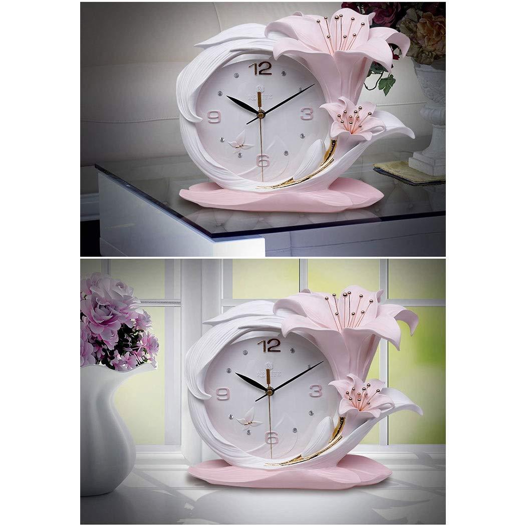 HONGNA Creative Resin Table Clock Living Room Stereo Clock Decoration Modern Fashion Desktop Art Decoration Bedroom Clock Simple Clock, Perfume Lily Small Fresh Table Clock Quality Assurance 3629cm by HONGNA (Image #5)