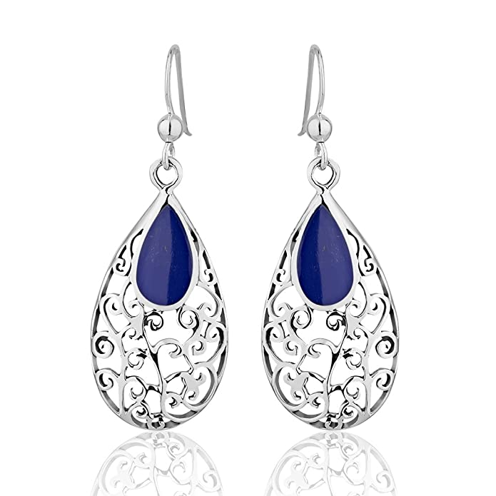 925 Sterling Silver Modern Swirls w/Bold Blue Reconstructed Lapis Lazuli Long Dangle Earrings