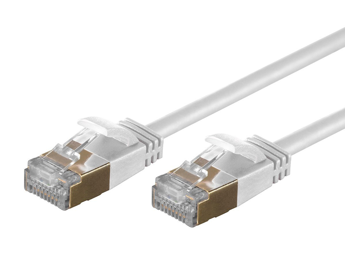 RJ45 2ft STP Stranded Pure Bare Copper Wire Network Internet Cord Monoprice SlimRun Cat6A Ethernet Patch Cable White 127446 36AWG