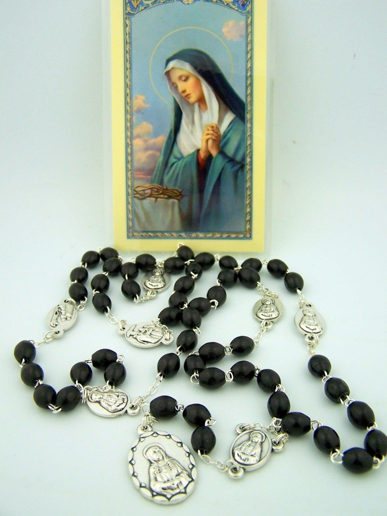 Catholic Rosary Wood Bead Our Lady Of 7 Sorrows Rosary Chaplet W Holy Card Set