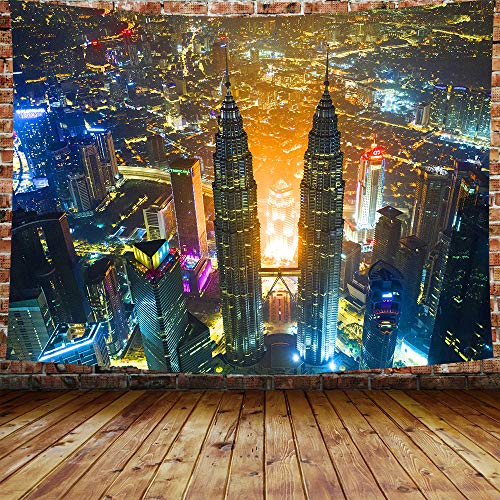 DBLLF City Night Scene Tapestry New York City at Night Wall Hanging Street Night Skyscraper City Lights Tapestry Art Sets for Home Decor Living Room Bedroom Dorm Decor 80×60 Inches DBZY0390