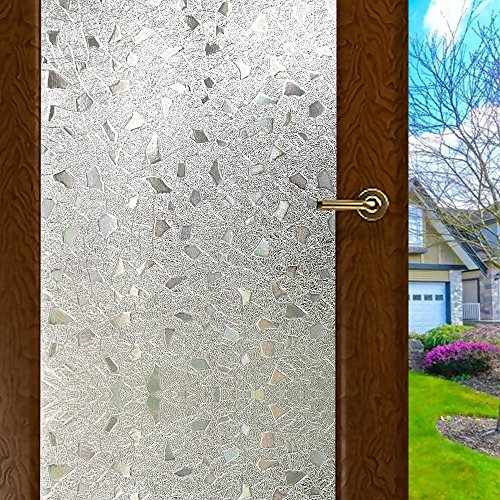 WPT 3D Window Films Self-adhesive Frosted Privacy Static Cling for Home Bedroom Bathroom Glass 11 X 59 Inches