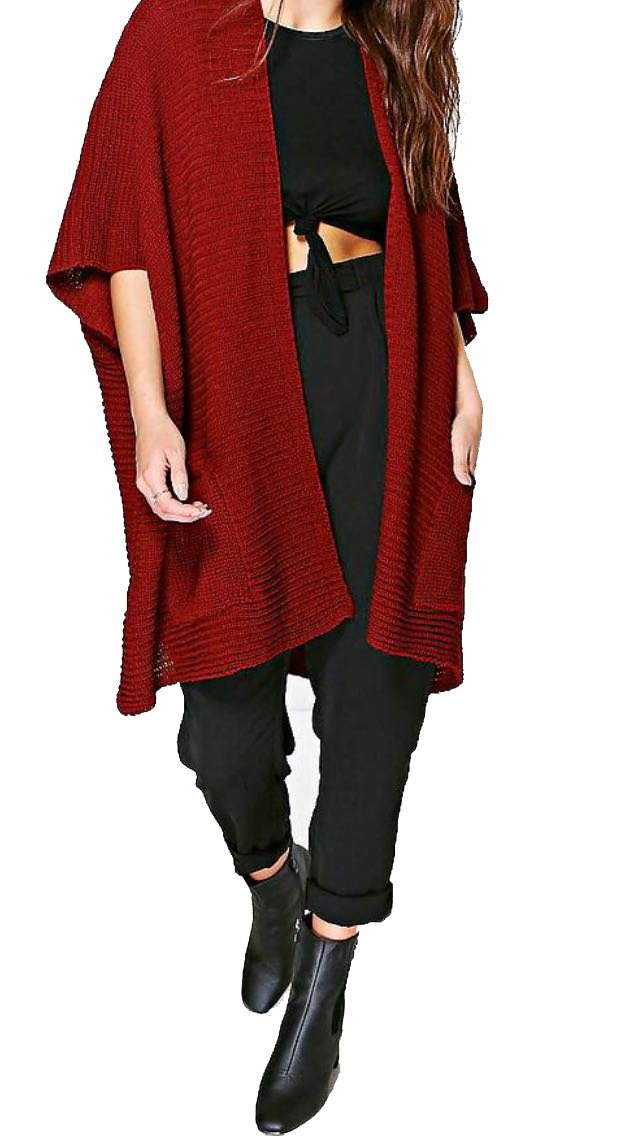 Crazy Girls Red Olives® Womens Chunky Knitted Baggy Oversized Pocket Long Jumpers Cardigans Cape