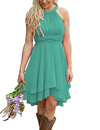 ecd73565b3c Meledy Women s Knee Length Country Bridesmaid Dresses Western Wedding Guest  Dresses Short Maid of Honor Gown Green US16 at Amazon Women s Clothing store