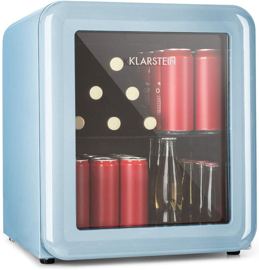 Klarstein PopLife Réfrigérateur à boisson - Minibar, Réfrigérateur rétro, 0-10°C, seulement 39 dB, Écologique, Porte à double vitrage, Design rétro, Bleu