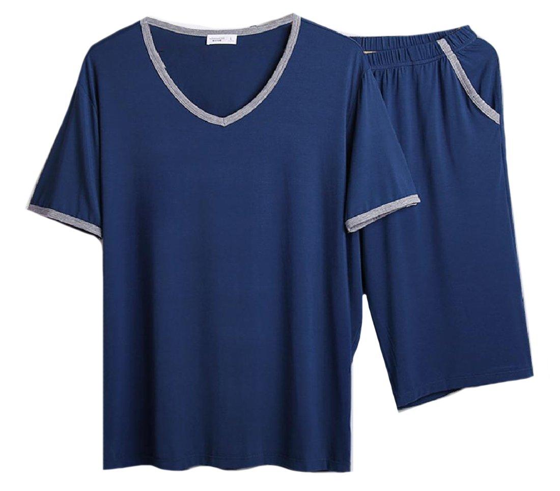 Zimaes-Men Large Size Fine Cotton Summer Daily Soft Loungewear Set Sapphire Blue M