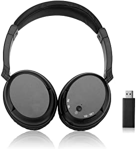 Comfortable Portable Wireless Headphones Hi-fi Stereo Multifunction for TV Over Ear Headset with FM Radio 2.4GHz Transmitter,RCA and 3.5mm Stereo Adapter
